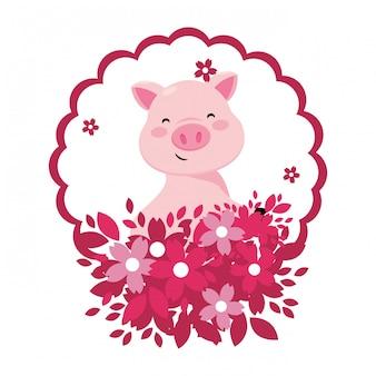 Schwein mit blume