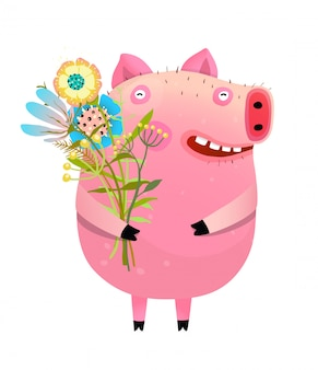 Schwein mit blumenstrauß