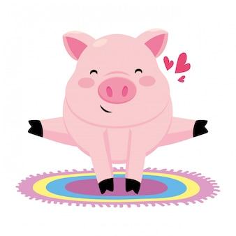 Schwein mit buntem teppich