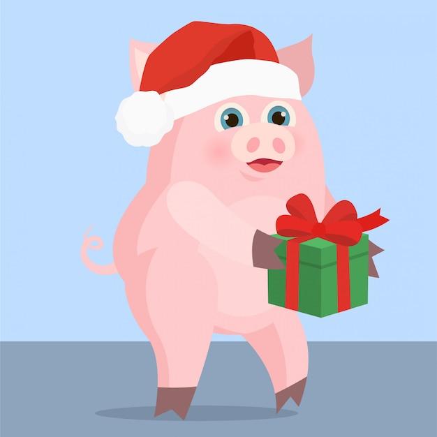 Schwein mit einem geschenk