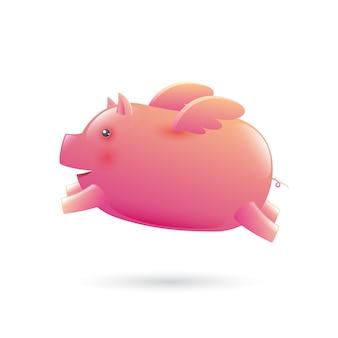 Schwein mit flügelillustration