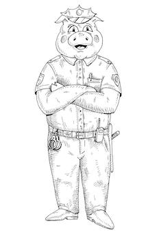 Schwein mit gekreuzten pfoten in polizeiuniform gekleidet. einfarbige schraffurillustration des weinlesevektors lokalisiert auf weißem hintergrund. handgezeichnetes gestaltungselement für t-shirt