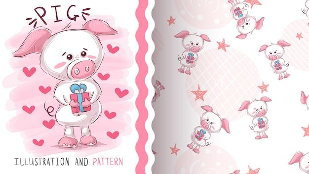 Schwein mit nahtlosem muster des geschenks