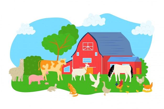 Schwein, schaf, pferd, kuh an der farmillustration. tier an der naturlandschaft, scheune für hühnerhahnhintergrund. landwirtschaftlicher ländlicher charakter bei gras, hund und ziege.