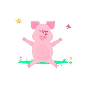 Schwein spielt mit schmetterlingen auf dem rasen. kleines schweinchen, das auf dem gras sitzt.
