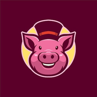 Schwein tierkopf cartoon logo vorlage illustration. esport logo spiel premium-vektor