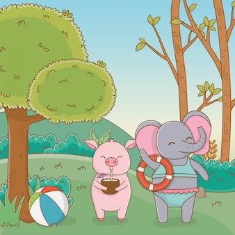 Schwein und elefant im wald