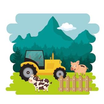 Schwein und kuh stehen neben traktor