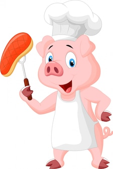Schweinchef mit gebratenem steak