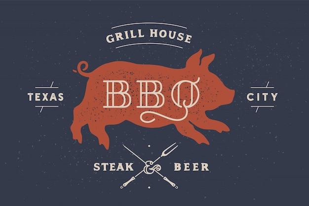 Schweinchen, schweinchen, schweinefleisch. vintage-etikett, logo, aufkleber, plakat für fleisch-restaurant