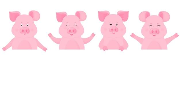 Schweine, die ein leeres schild halten, saubere anschlagtafel. platz für ihren text. süßes schweinchen.