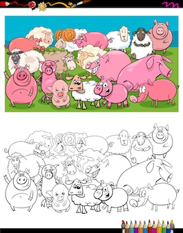 Schweine und schafe zeichen gruppe farbbuch