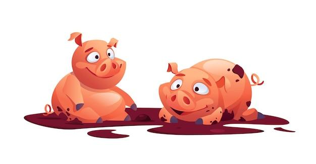 Schweine vieh tiere im schlamm spielen isoliert cartoon ferkel schweine schweinchen landwirtschaft tier