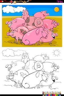 Schweine vieh zeichen gruppe farbbuch