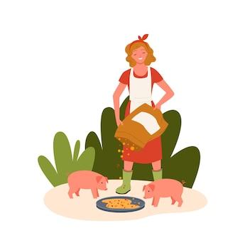Schweinefarm cartoon bauer agrarfrau füttert schweine haustiere, niedliche landwirtschaftsszene mit schweinchen