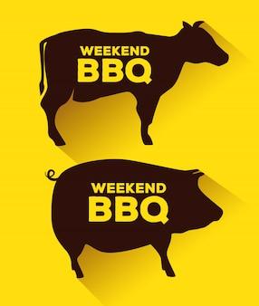 Schweinefleisch und rindfleisch silhouetten