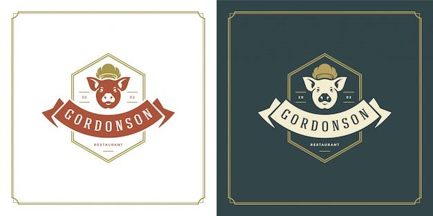 Schweinefleischkopf der restaurantlogoschablonenillustration im kochmützen-symbol und in der dekoration, die für menü- und cafézeichen gut sind.