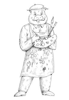 Schweinemaler gekleidet in der schürze, die palette hält. einfarbige schraffurillustration des weinlesevektors lokalisiert auf weißem hintergrund. handgezeichnetes gestaltungselement für t-shirt