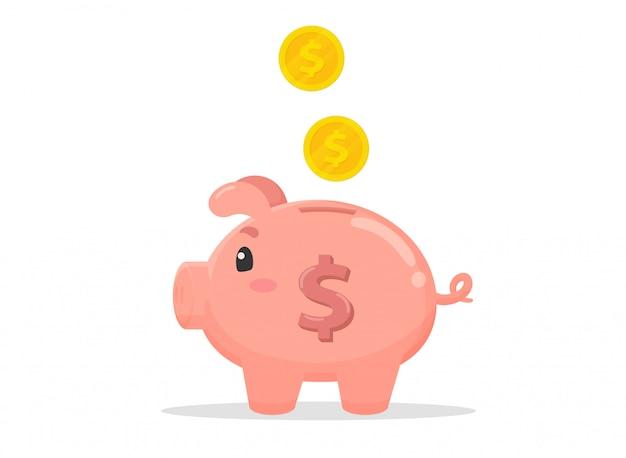 Schweinförmiges sparschwein, das viel geld sammelt.