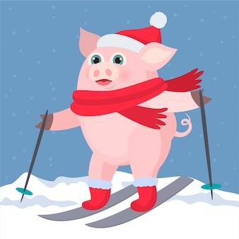 Schweinskifahren im schnee