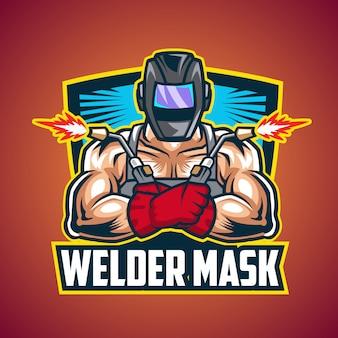 Schweißer maske maskottchen logo