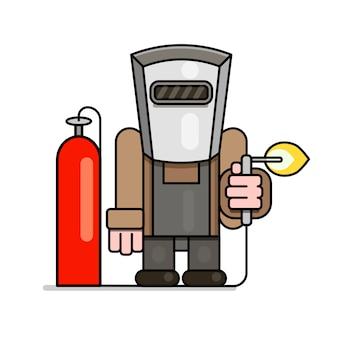 Schweißer mit gasflaschen- und reduzierervektor