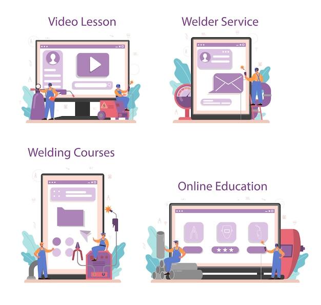 Schweißer- und schweiß-onlinedienst oder plattform auf unterschiedlichem gerätekonzept