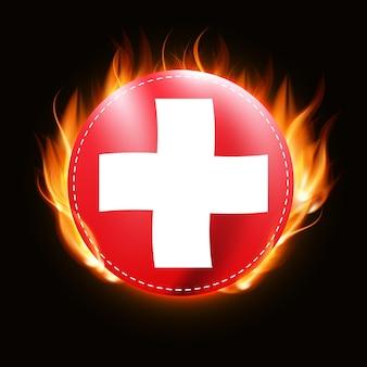 Schweiz-flagge auf feuerhintergrund länderemblem Premium Vektoren