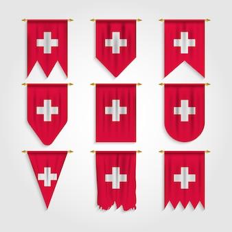 Schweiz flagge in verschiedenen formen