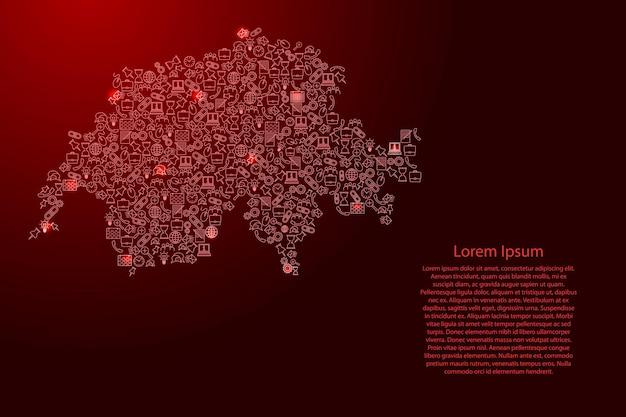 Schweiz-karte aus roten und leuchtenden sternensymbolen mustersatz seo-analysekonzept oder entwicklung, geschäft. vektor-illustration.