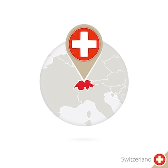 Schweiz-karte und flagge im kreis. karte der schweiz, schweiz-flaggenstift. karte der schweiz im stil des globus. vektor-illustration.
