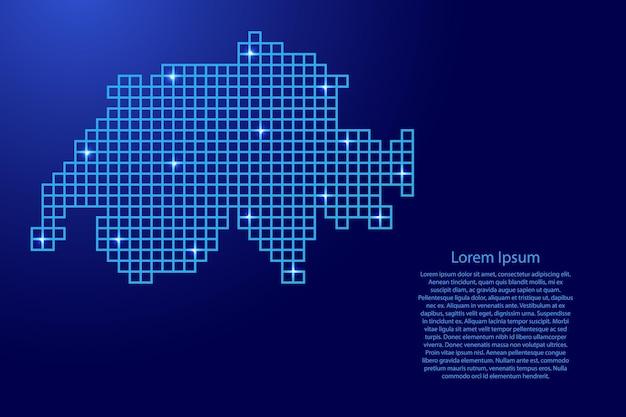 Schweiz-kartensilhouette aus blauen mosaikstrukturquadraten und leuchtenden sternen. vektor-illustration.