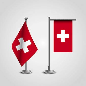 Schweiz landesflagge auf pole