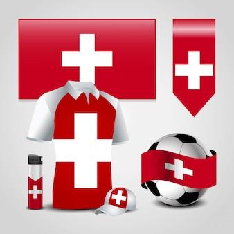 Schweiz landesflagge gesetzt