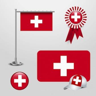 Schweiz-markierungsfahne, die an der stange hängt