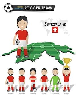Schweizer fußball-nationalmannschaft. fußballspieler mit sporttrikot stehen auf der landkarte des perspektivfeldes und der weltkarte. set von fußballspielerpositionen. flaches design der zeichentrickfigur. vektor.