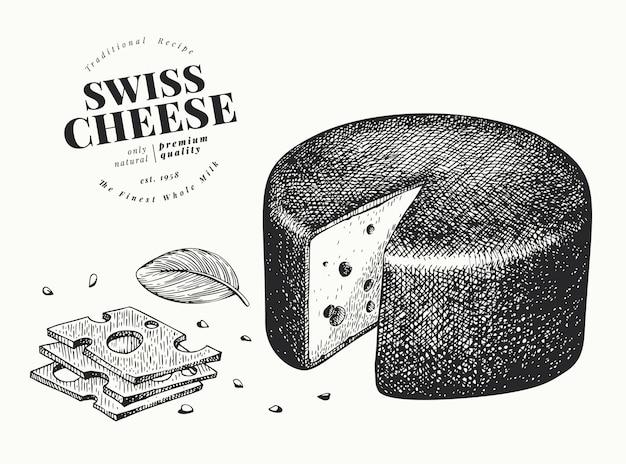 Schweizer käse illustration. hand gezeichnete molkereiillustration. emmentaler kopf mit gravur. weinleselebensmittelillustration.