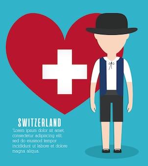 Schweizer mann und herz-symbol