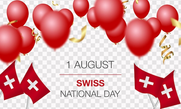 Schweizer nationalfeiertag. unabhängigkeitstag der schweiz. realistische luftballons, flaggen, bänder mit der flagge der schweiz. vektor-illustration