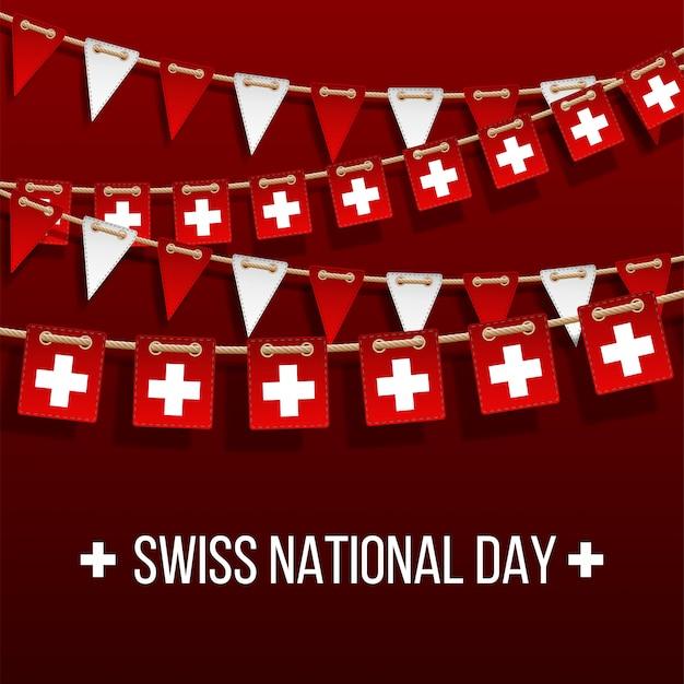 Schweizer nationalfeiertagshintergrund mit hängenden flaggen. feiertagsdekorationselemente. girlande rote und weiße flaggen auf rotem hintergrund, hang bunting für schweiz feier vorlage