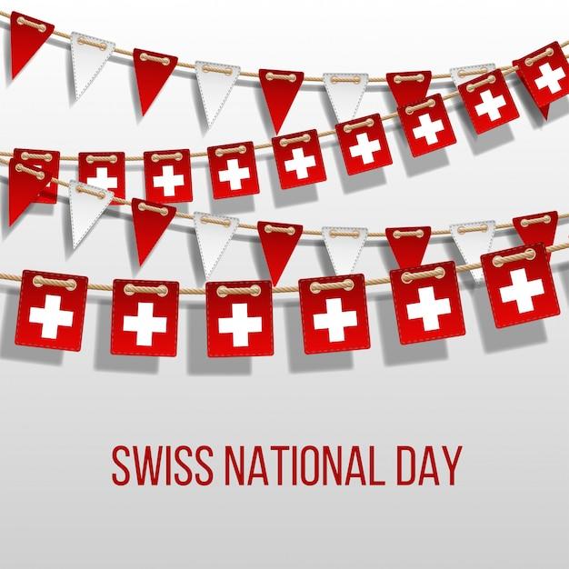 Schweizer nationalfeiertagsvektor mit hängenden flaggen. feiertagsdekorationselemente. girlande rote und weiße fahnen