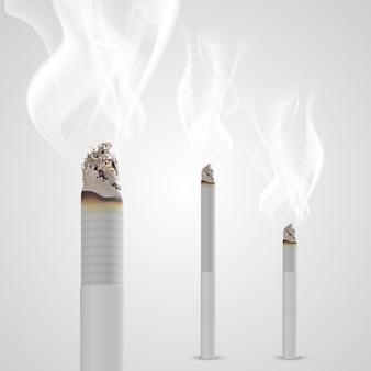 Schwelende zigarette mit einem rauchobjekt. vektor-illustration Premium Vektoren