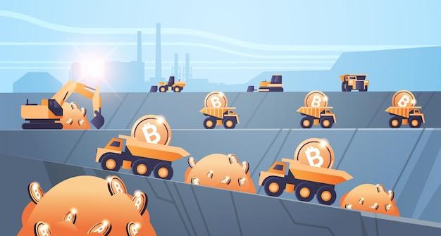 Schwere lkw-bergbau-transport mit bitcoins goldene münze digitale geldproduktion kryptowährung blockchain-konzept tagebau steinbruch horizontale vektorillustration