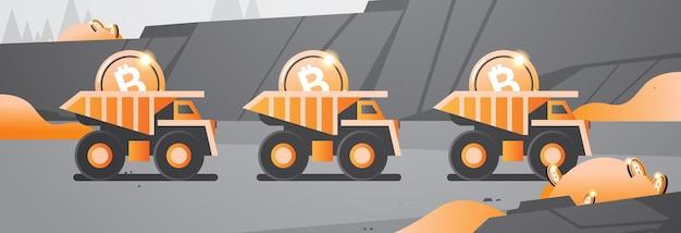 Schwere lkw-bergbau-transport mit bitcoins goldmünze digitale geldproduktion kryptowährung blockchain