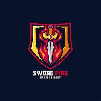 Schwert feuer e-sport logo team