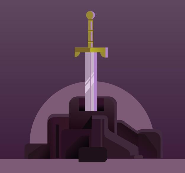 Schwert in der flachen karikaturillustration des steins
