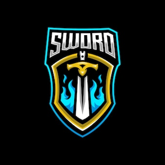 Schwert maskottchen logo esport gaming
