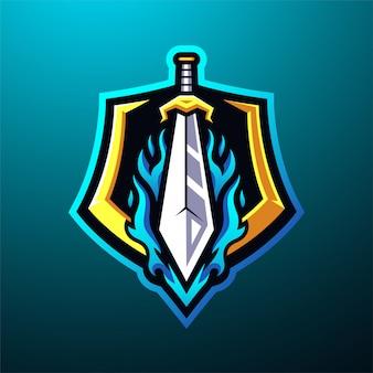 Schwert maskottchen logo