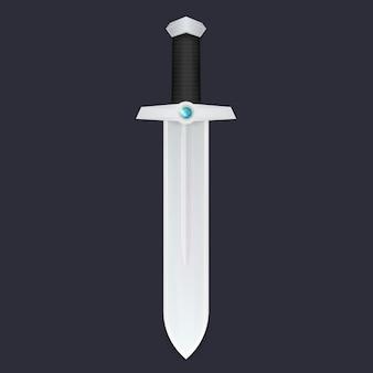 Schwert mit edelstein, elegante mittelalterliche klinge, vektorillustration