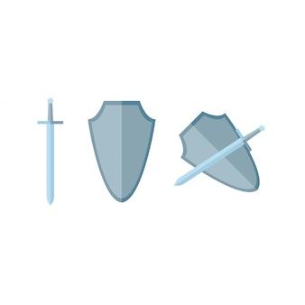 Schwert und schild flach